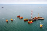 Filanovskiy-1 stationary drilling platform substructures transportation and marine installation.